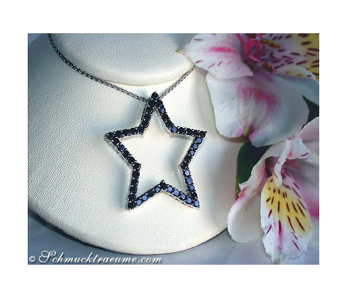 Pretty Black Diamond Star Pendant