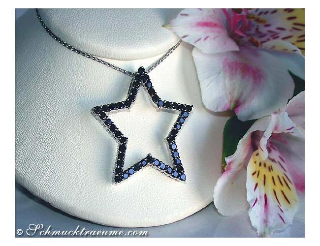 Schwarze Diamanten Stern Anhänger
