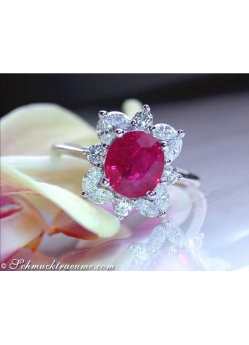 Exquisite Burmese Ruby Ring with Diamonds