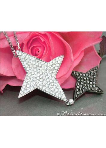 Stern Anhänger mit Brillanten & schwarzen Diamanten