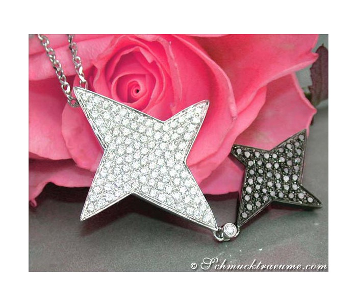 Extravagant Black & White Diamond Star Pendant