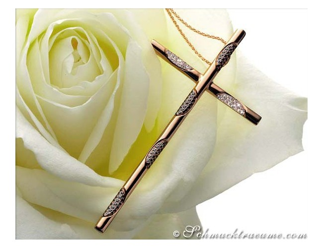 Diamanten Kreuz Anhänger in Roségold