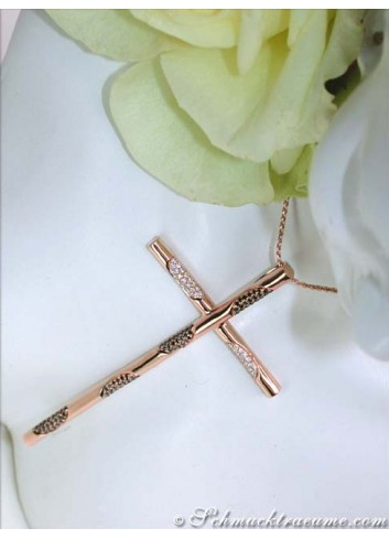 Elegant Cross Pendant With Black & White Diamonds