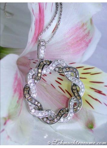 Extravagant Brown & White Diamond Pendant