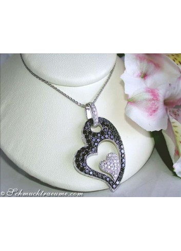 Charming Black & White Diamond Heart Pendant