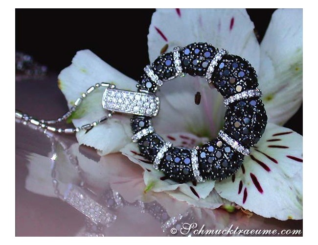 Opulent Pendant with Black & White Diamonds