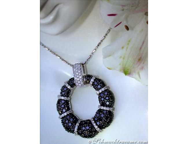Opulent Pendant with Black & White Diamonds