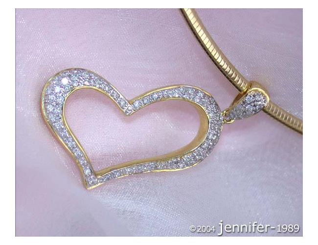 Herz Anhänger mit Diamanten in Gelbgold