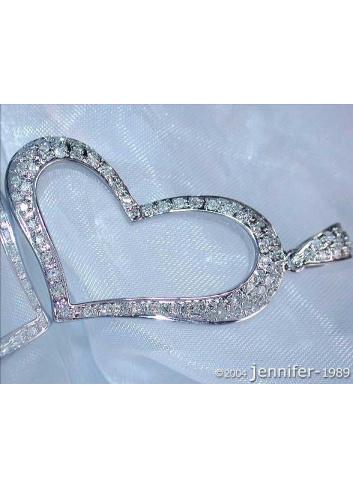 Bezaubernder Herz Anhänger mit Diamanten in Weißgold