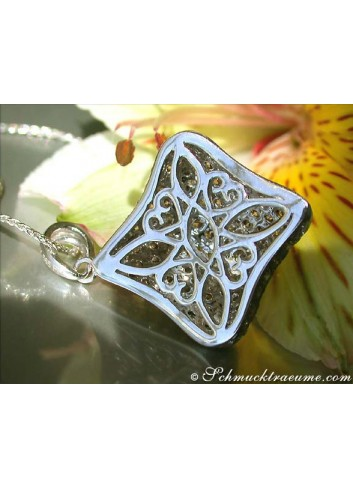 Solid Pendant with Natural Brown & White Diamonds