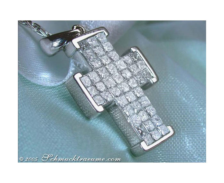 Exquisite Diamond Cross Pendant (Invisible Setting)