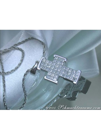 Exquisite Diamond Cross Pendant (Invisible Setting)