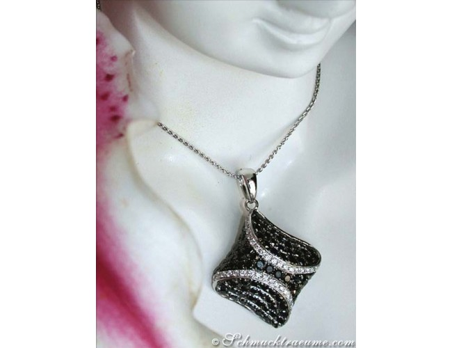 Solid Black & White Diamond Pendant