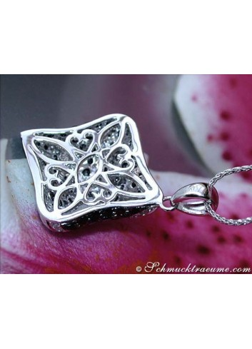 Solid Black & White Diamond Rhombic Style Pendant