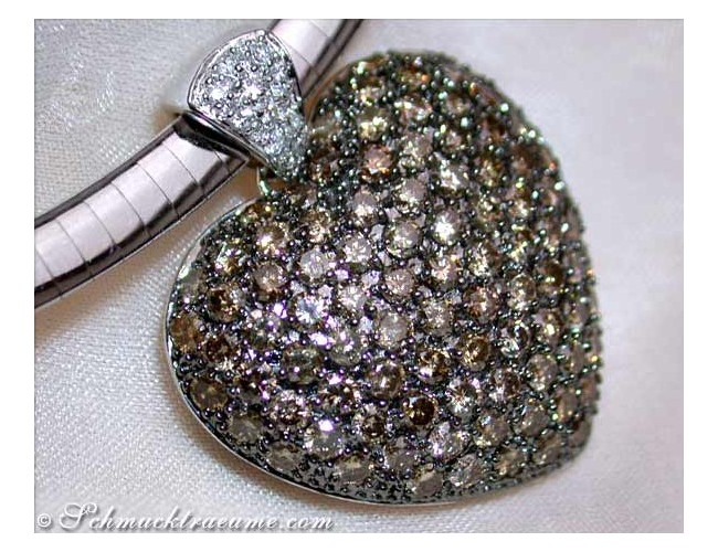 Huge Natural Brown Diamond Heart Pendant