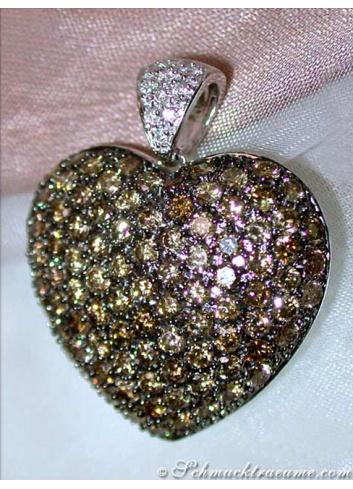 Huge Natural Brown Diamond Heart Pendant