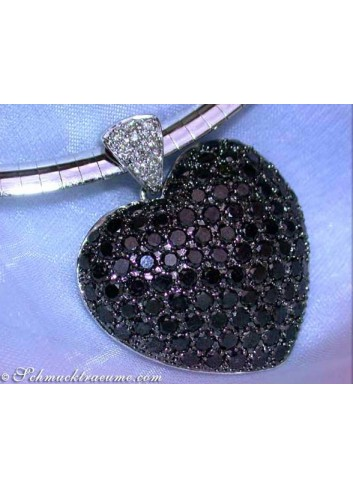 Huge Black Diamond Heart Pendant