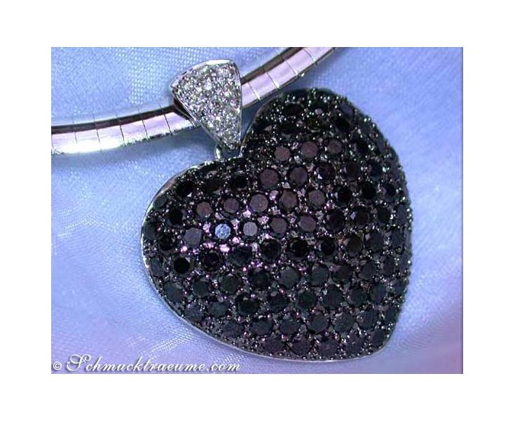 Schwarze Diamanten Herz Anhänger