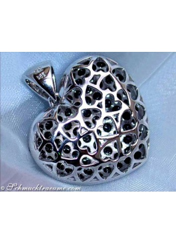 Huge Black Diamond Heart Pendant