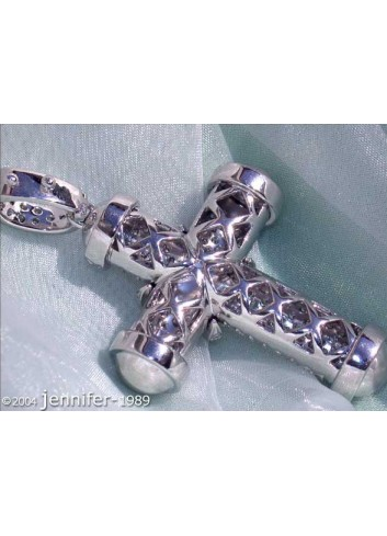 Stately Diamond Cross Pendant in White gold 18k