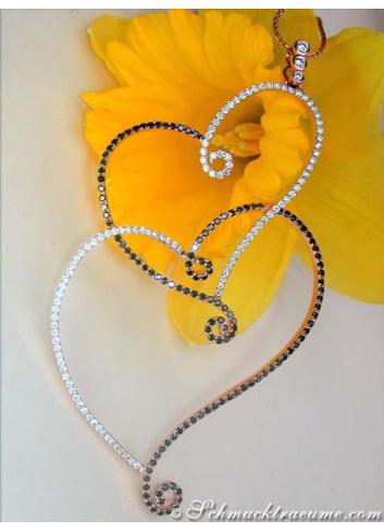 Precious Black & White Diamond Heart Pendant