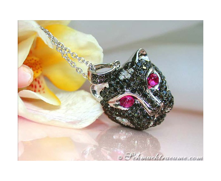 Panther Head Pendant with Black Diamonds