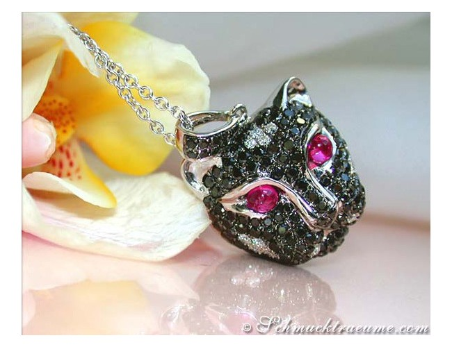 Unique Panther Head Pendant with Black Diamonds
