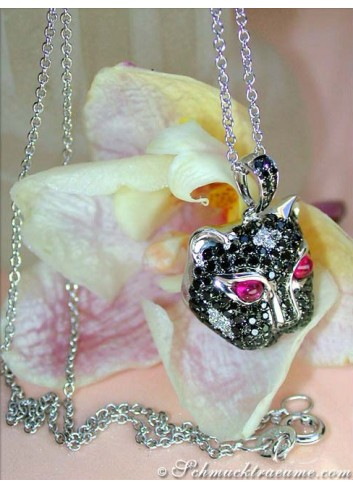 Panther Anhänger mit schwarzen Diamanten in Weißgold