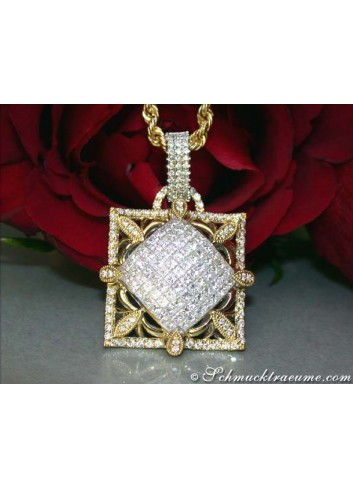 Luxus Anhänger mit Diamanten in Gelbgold 750