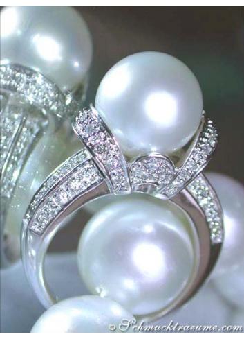 Südseeperle Ring mit Brillanten in Weißgold