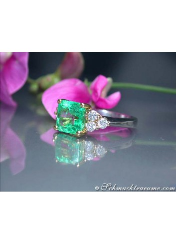 Smaragd Ring mit Brillanten Gelbgold