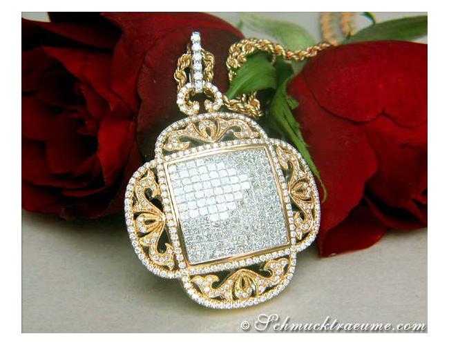 Luxus Diamanten Anhänger Gelbgold 750