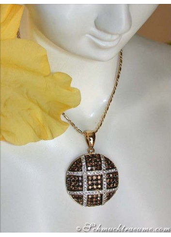 Fancy Pendant with White & Natural Brown Diamonds