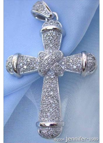 Precious Diamond Cross Pendant in White gold