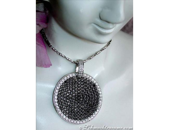Solid Black & White Diamond Pendant