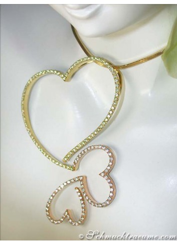 Heart pendant with white & yellow diamonds