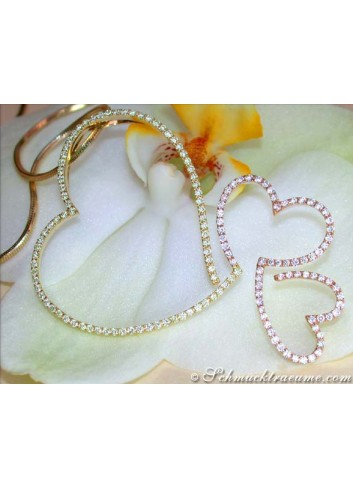 Herz Anhänger mit gelben Diamanten