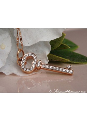 Delicate Diamond Key Pendant