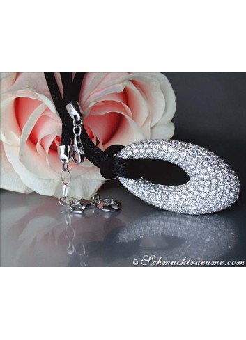 Opulent Diamond Donut Pendant on a Satin Cord