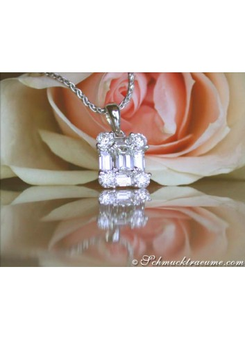 Exquisite Diamond Square Pendant