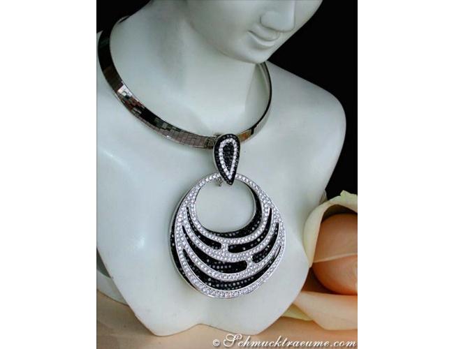 Magnificent Black & White Diamond Pendant