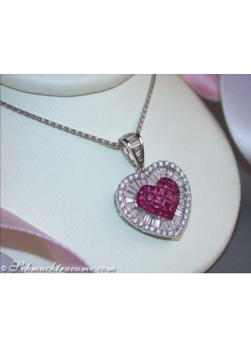 Unique Ruby Heart Pendant with Diamonds