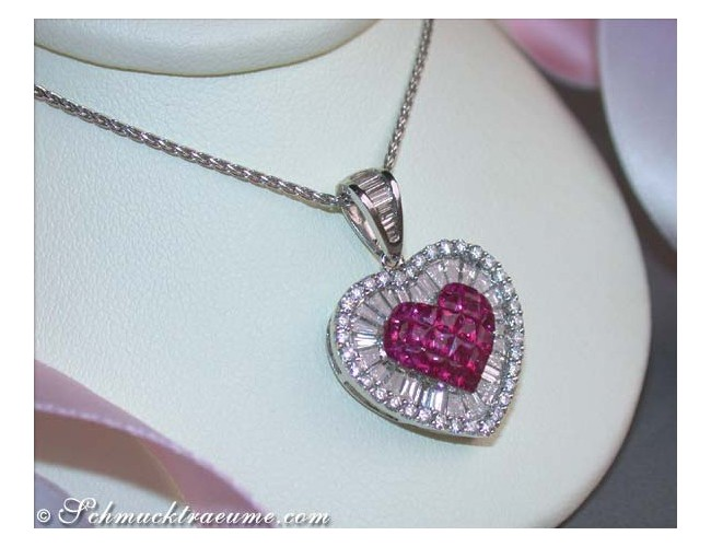 Unique Ruby Heart Pendant with Diamonds and Diamonds