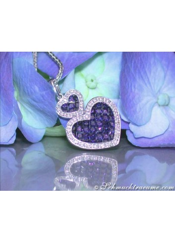 Wonderful Heart Style Sapphire Diamond Pendant