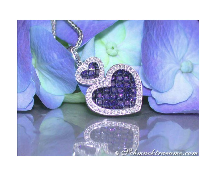 Wonderful Heart Style Sapphire Diamond Pendant