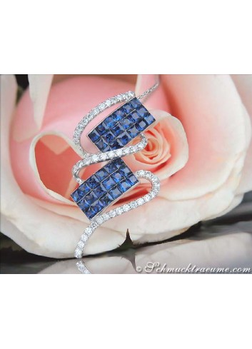 Beautiful Ceylon Sapphire Pendant with Diamonds