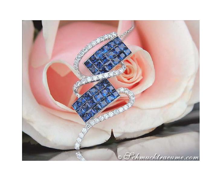 Beautiful Ceylon Sapphire Pendant with Diamonds