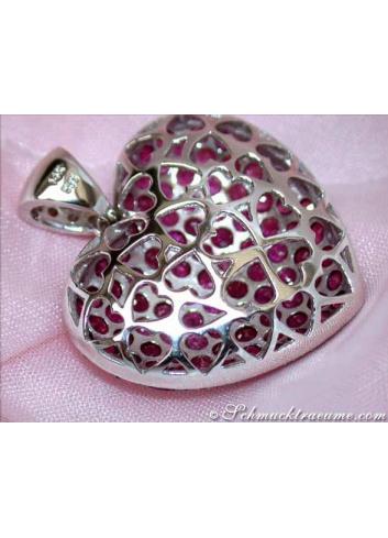 Huge Ruby Heart Pendant with Diamonds