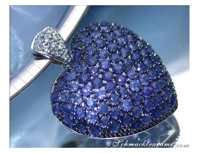 Precious Sapphire Diamond Heart Pendant