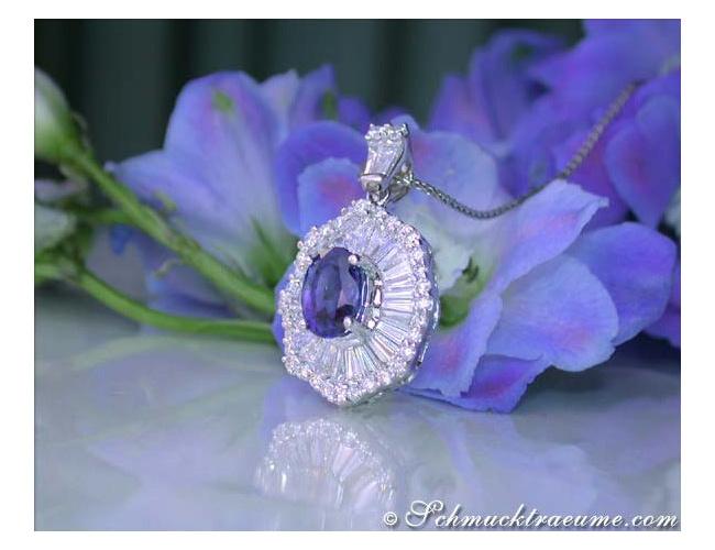 Ceylon Saphir Anhänger mit Diamanten